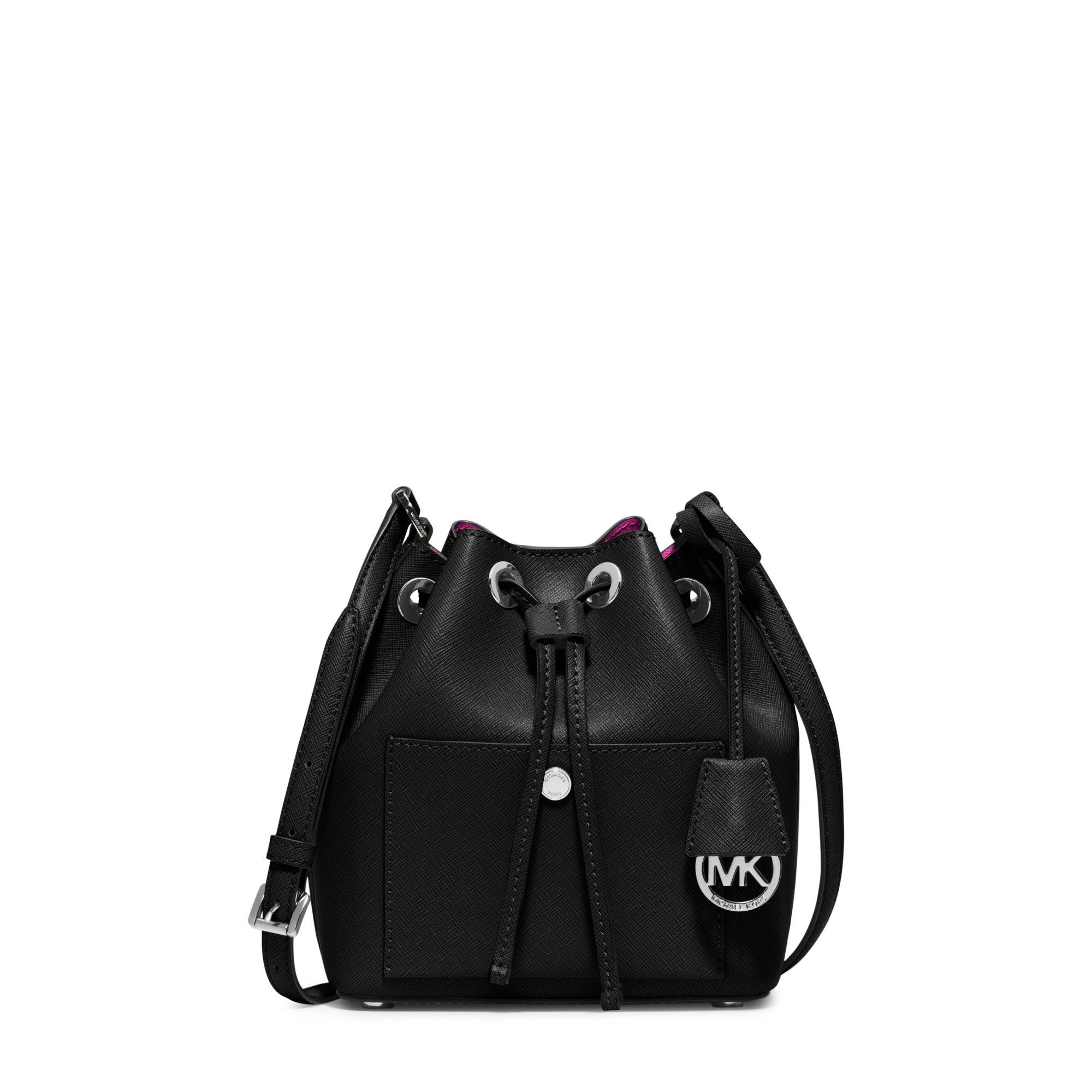 954875e39595 Lyst - Michael Kors Greenwich Saffiano-Leather Bucket Bag in Black