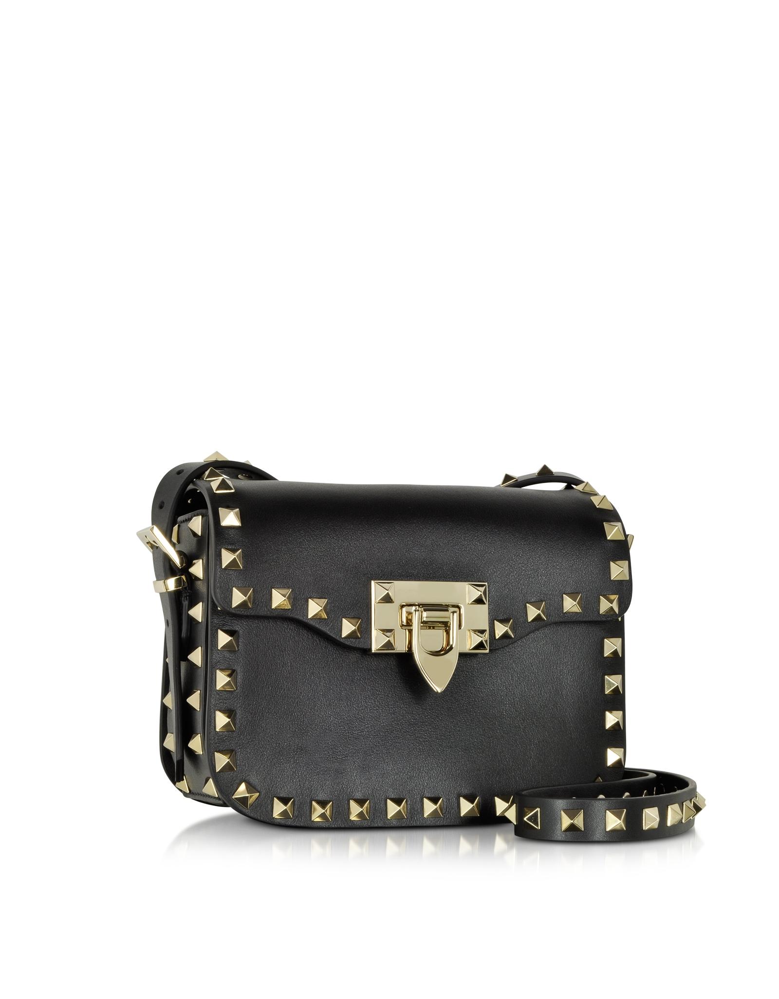 Valentino Rockstud Black Leather Small Shoulder Bag Lyst