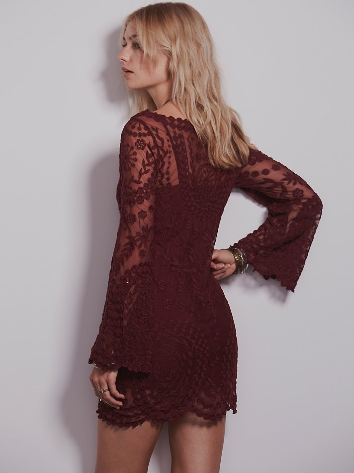 Free People Womens Commemorative Bell Sleeve Dress In Red