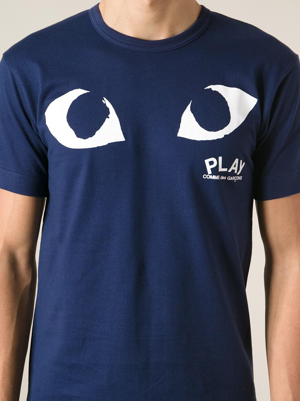Play Comme Des Gar Ons Eye Print T Shirt In Blue For Men