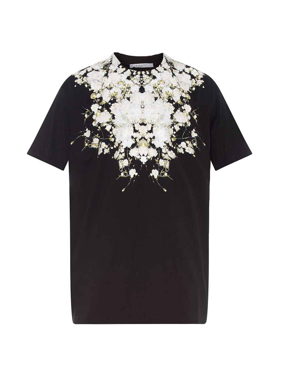 Givenchy Columbian Fit Floral Print T Shirt In Black For