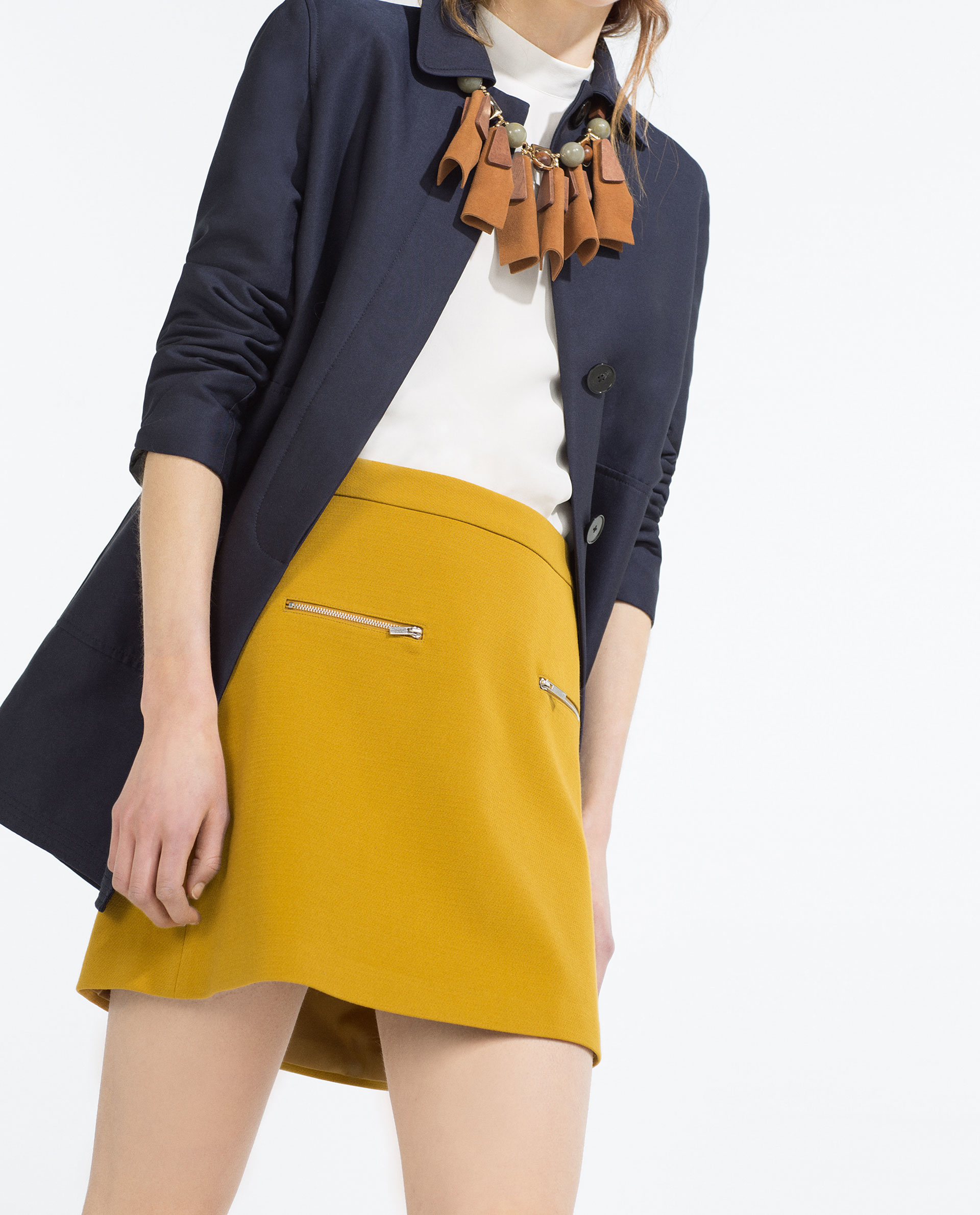 Zara A-line Skirt in Yellow | Lyst