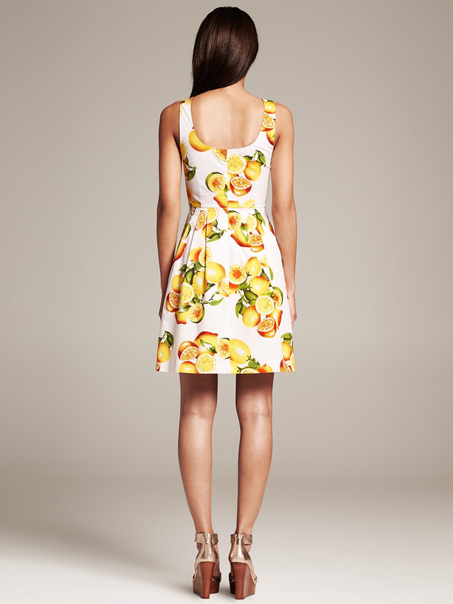 Banana Republic Lemon Print Fit And Flare Dress White In
