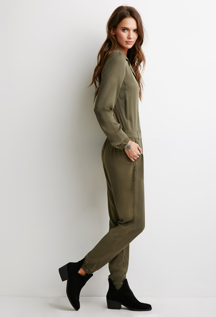 Lyst Forever 21 Utility Jumpsuit In Green