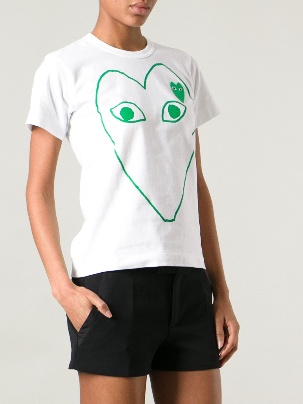 lyst play comme des gar ons heart logo t shirt in green. Black Bedroom Furniture Sets. Home Design Ideas