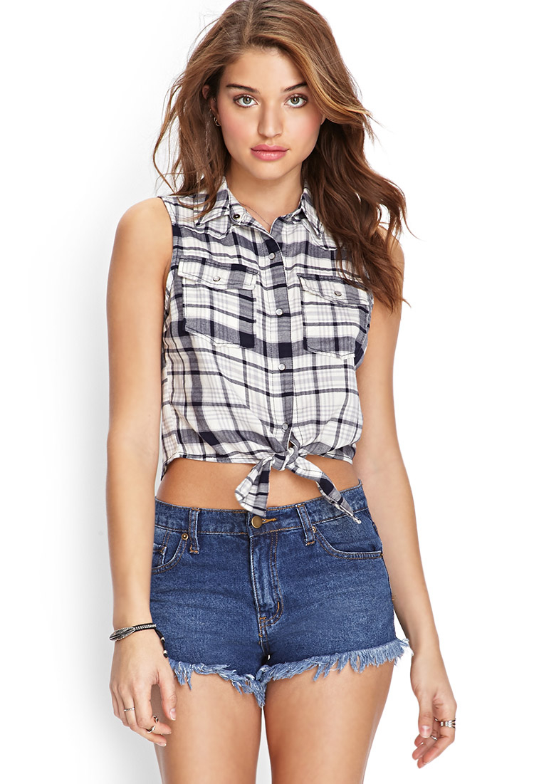 Forever 21 self tie plaid shirt in gray lyst for Grey plaid shirt womens