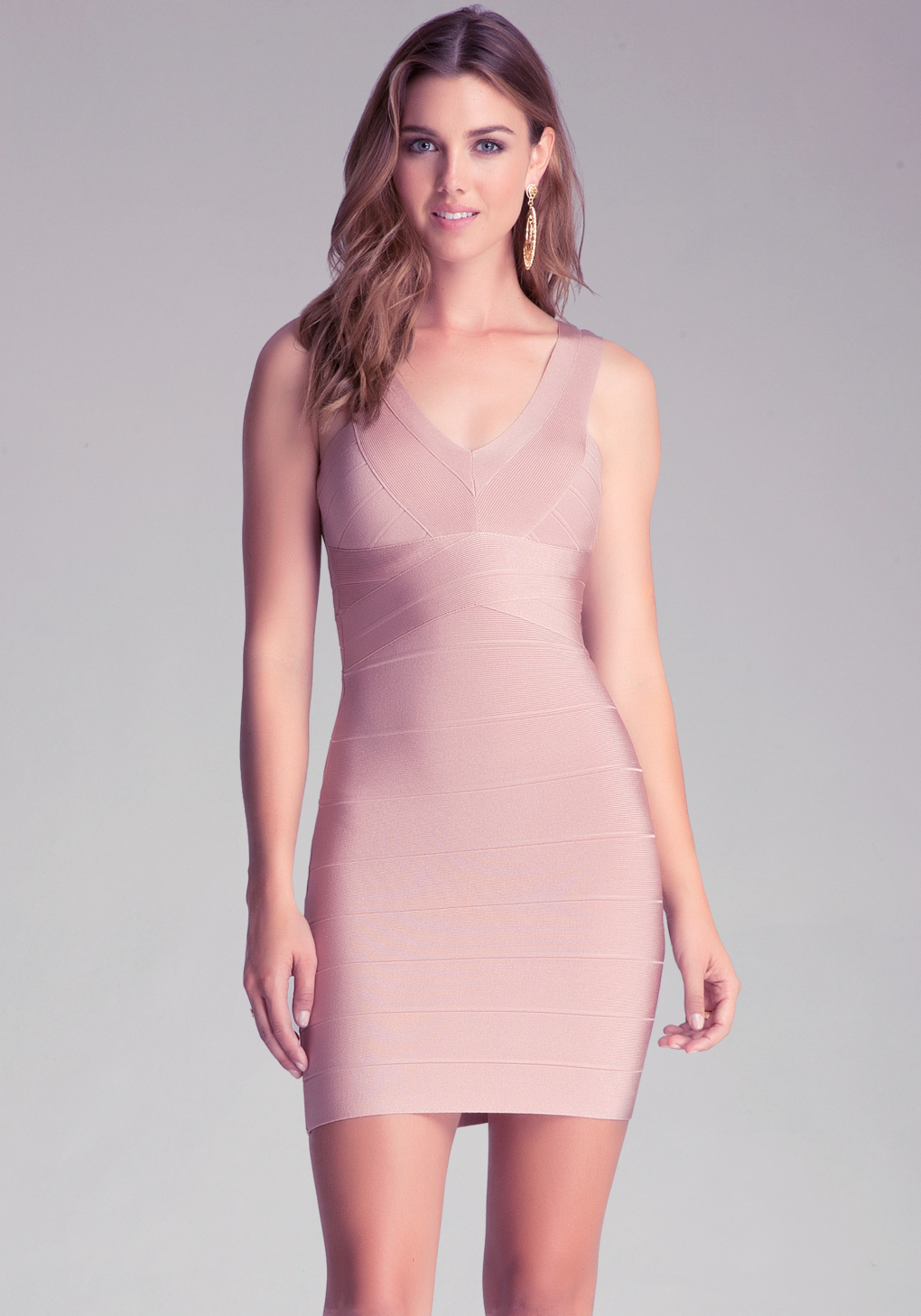 lyst bebe v neck bandage dress in pink. Black Bedroom Furniture Sets. Home Design Ideas