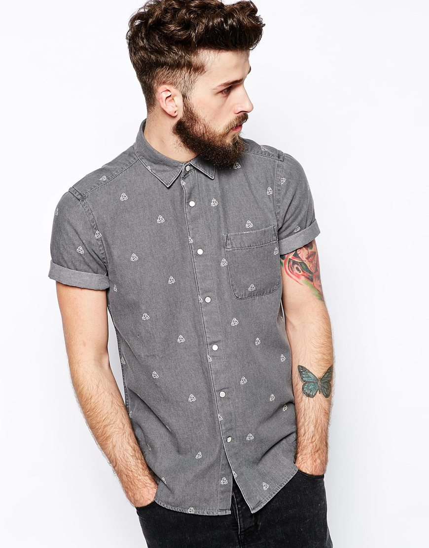 Lyst asos denim shirt in short sleeve with geo print in for Short sleeve button up shirts