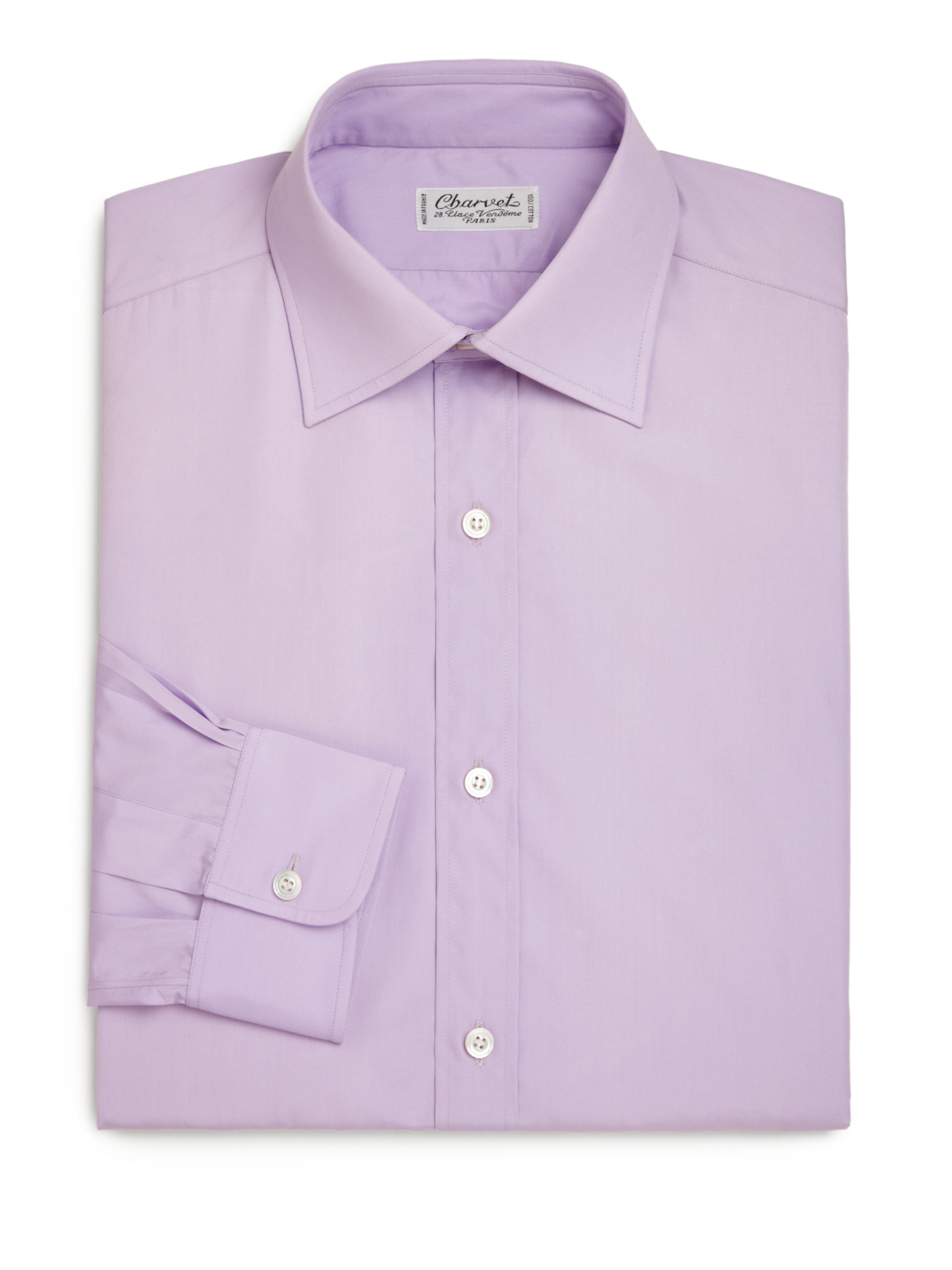Charvet regular fit solid dress shirt in purple for men Light purple dress shirt men