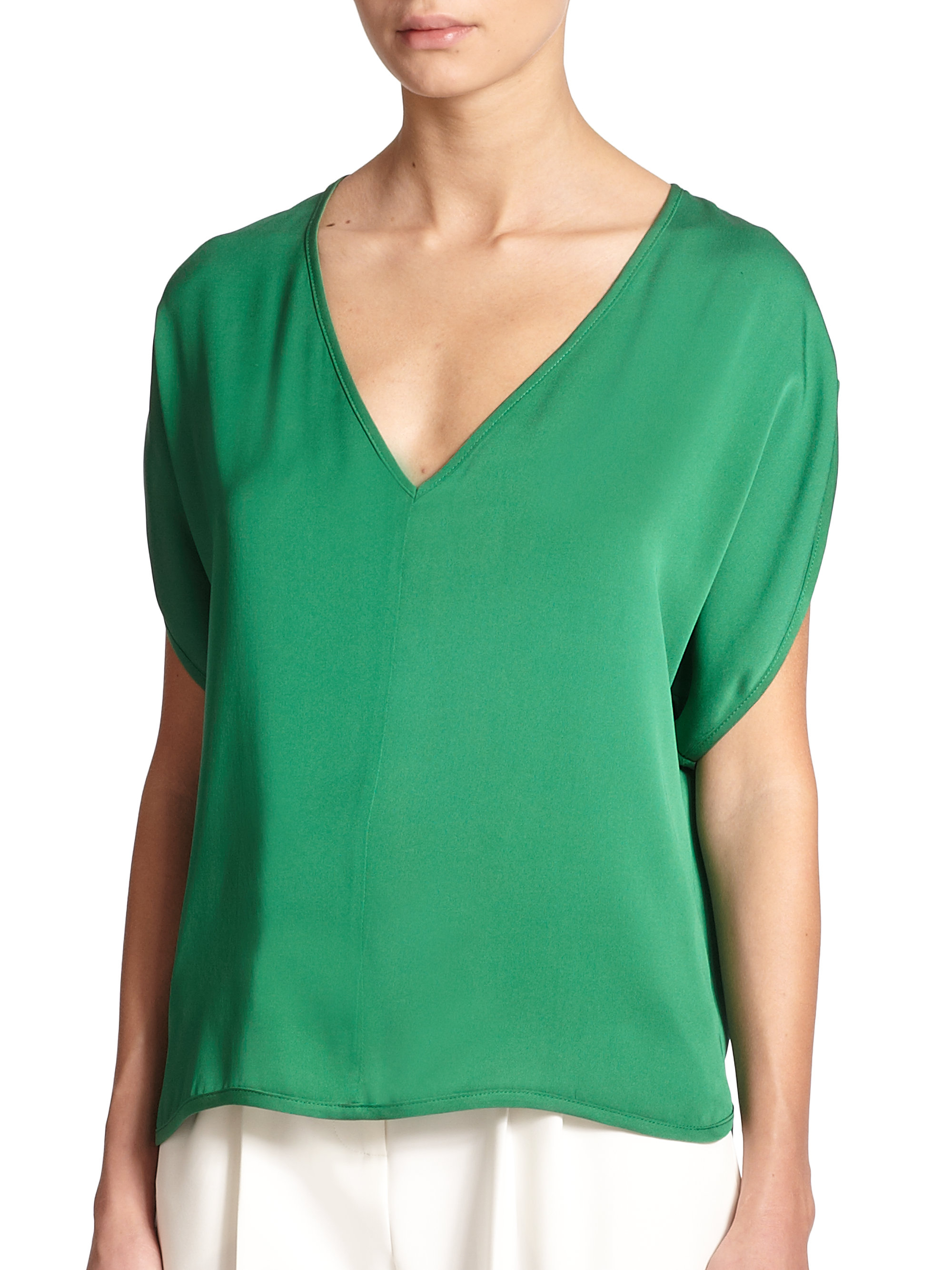 Milly Stretch Silk V-neck Blouse in Green | Lyst