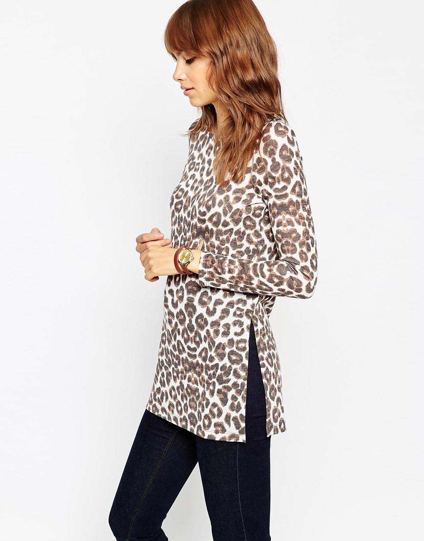 1ea956aecad Lyst - Asos Leopard Print Cut And Sew Split Side Longline Top in Brown