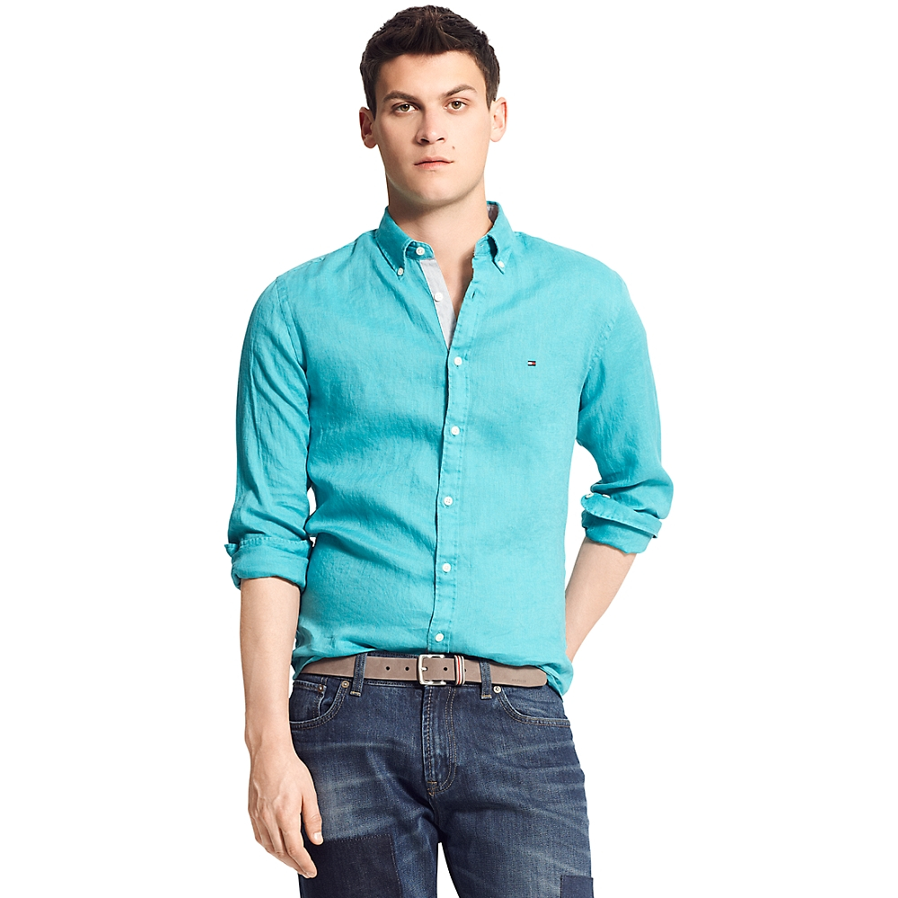 tommy hilfiger new york fit solid linen shirt in green for. Black Bedroom Furniture Sets. Home Design Ideas