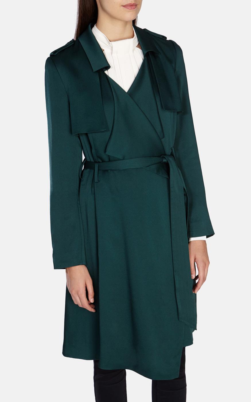 Karen Millen Fluid Satin Trench Coat In Green Lyst
