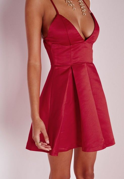 Lyst Missguided Satin Plunge Structured Skater Dress Red