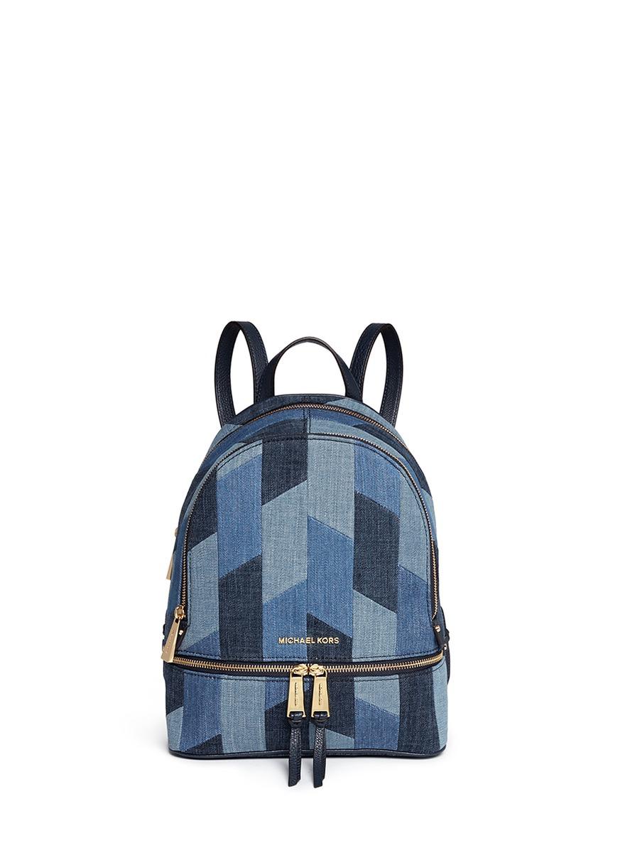 be0166ead678f7 Michael Kors 'rhea' Medium Mosaic Patchwork Denim Backpack in Blue ...