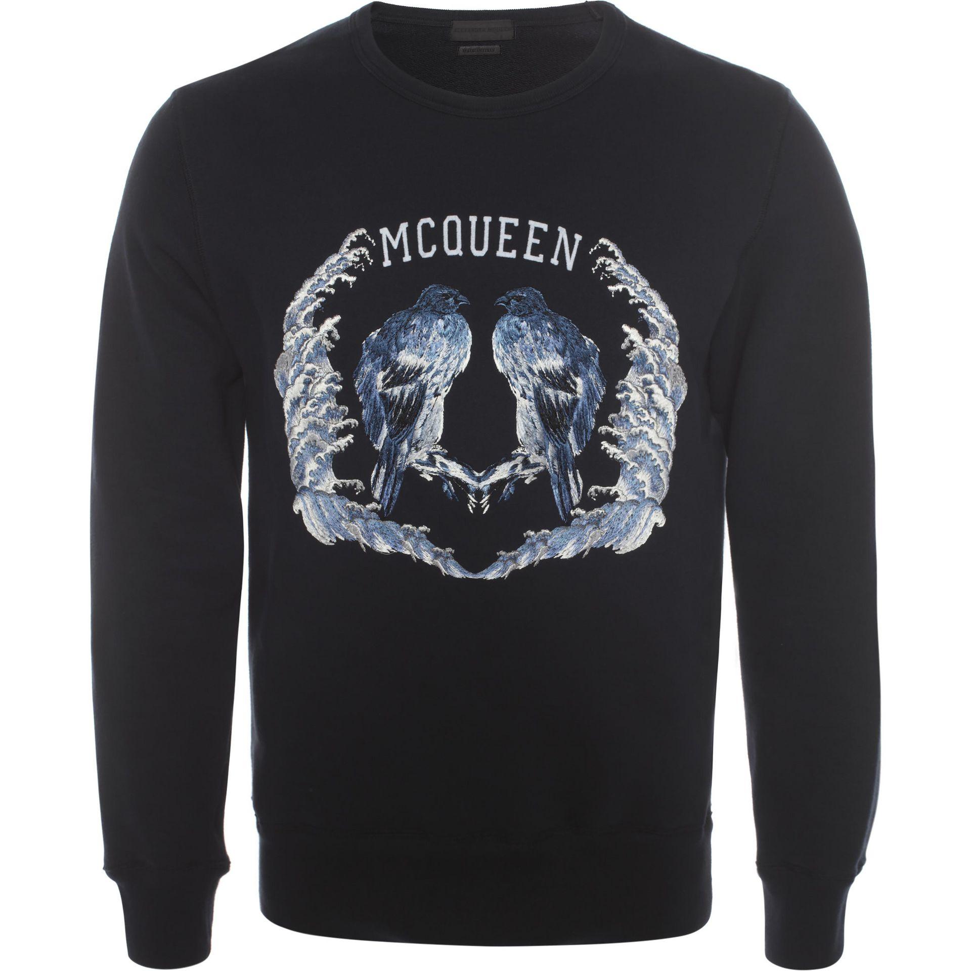 lyst alexander mcqueen embroidered bird sweatshirt in blue for men. Black Bedroom Furniture Sets. Home Design Ideas