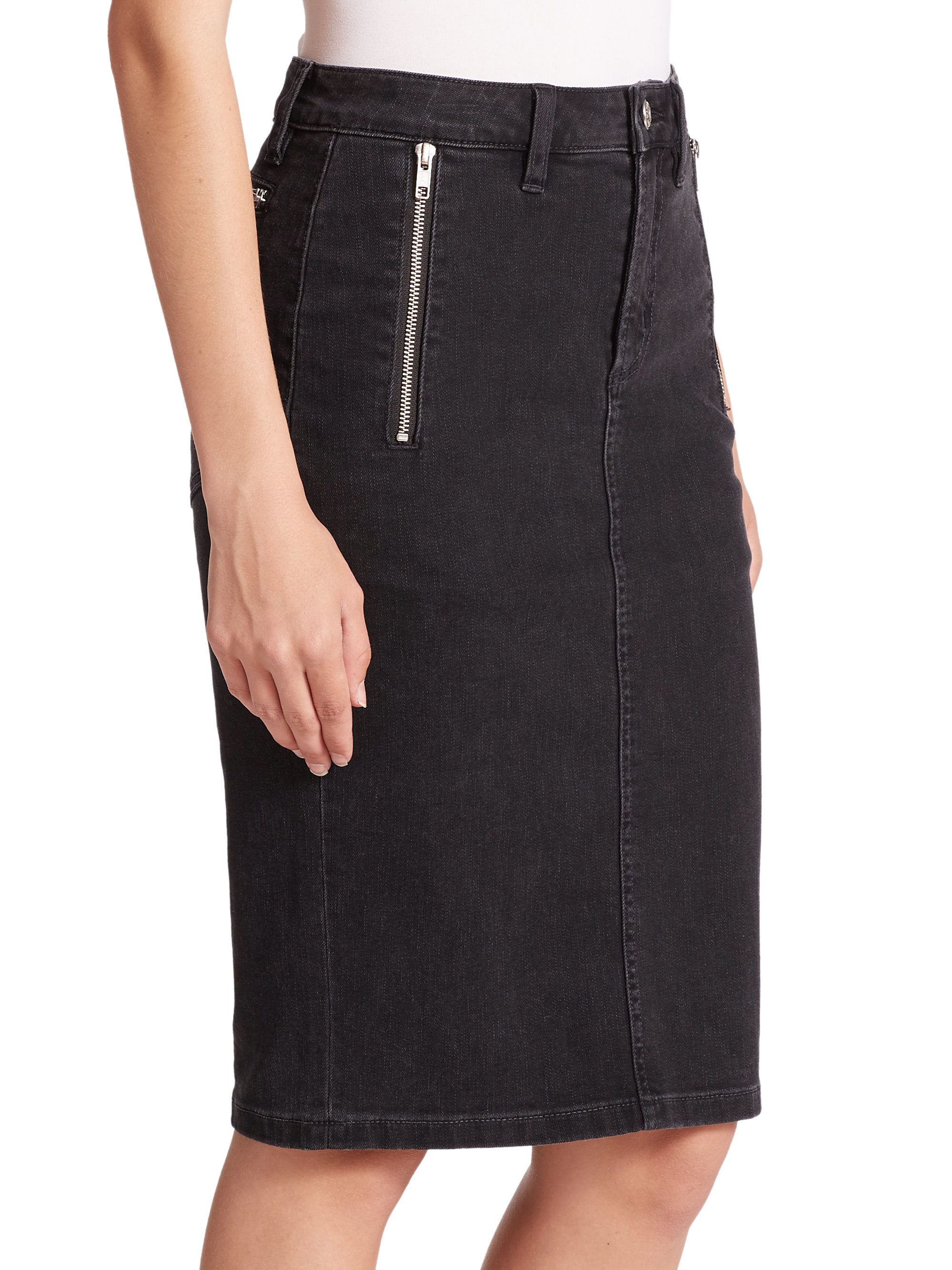 Marc by marc jacobs Stretch-denim Pencil Skirt in Black | Lyst