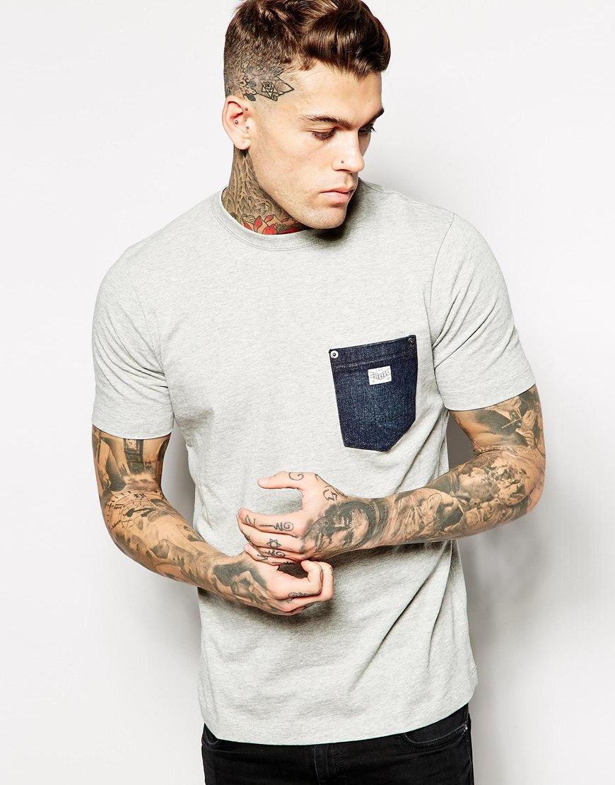 diesel t shirt t elico d denim pocket in gray for men lyst. Black Bedroom Furniture Sets. Home Design Ideas