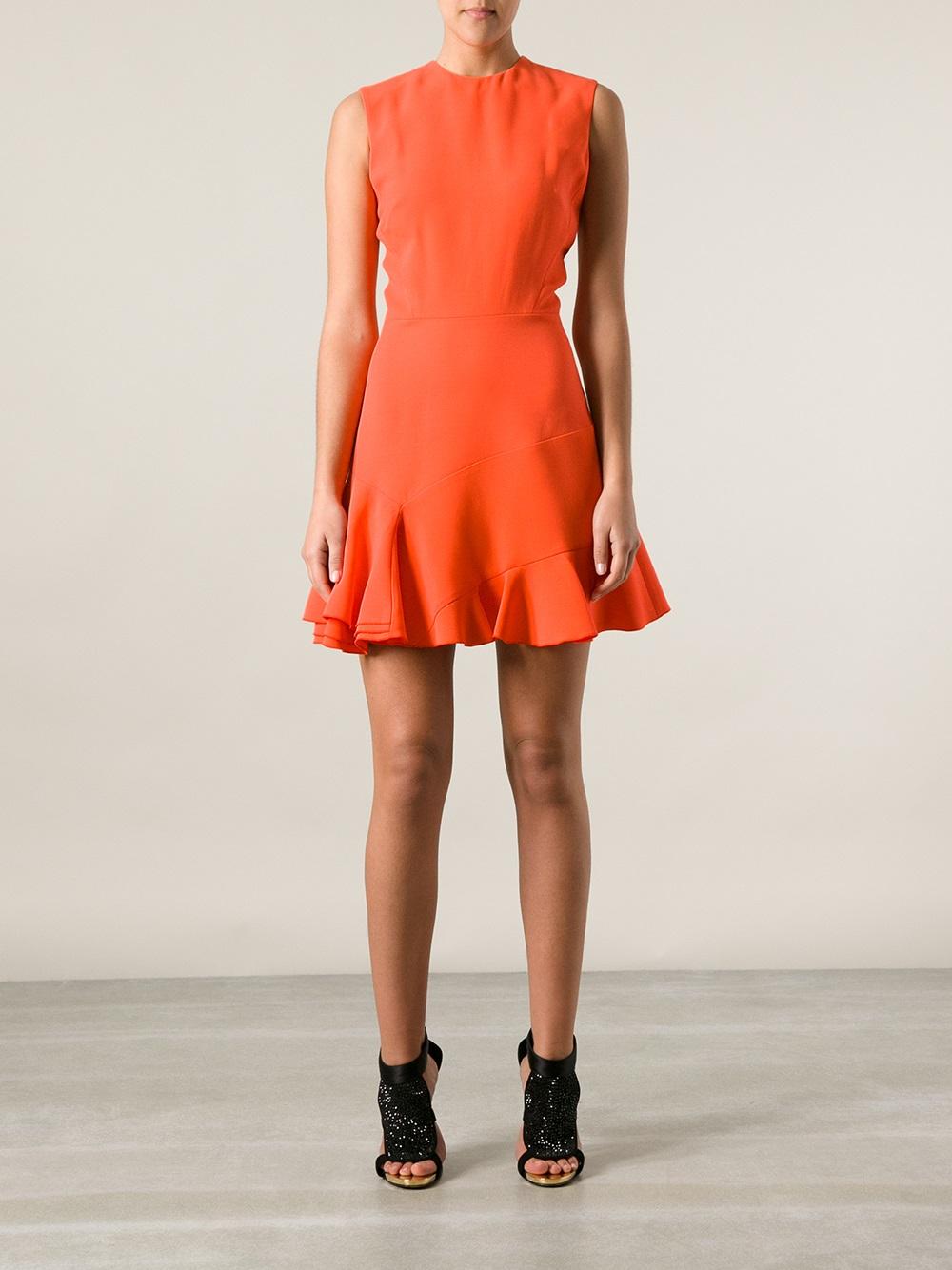 Lyst Victoria Beckham Flared Hem Short Dress In Orange