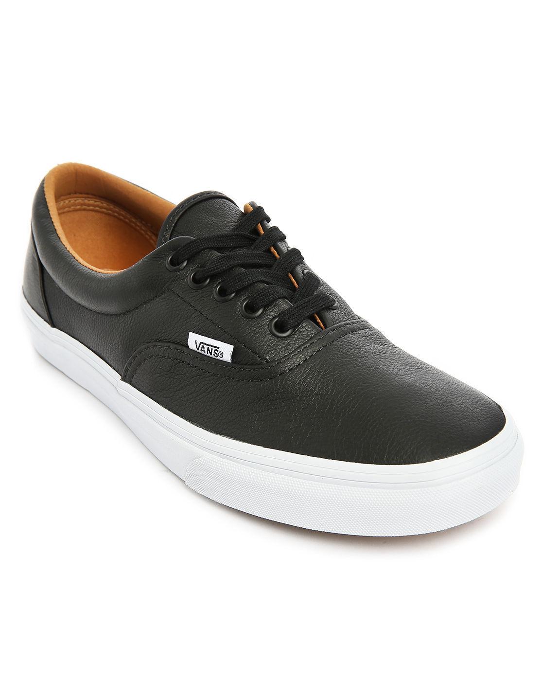 vans era black leather sneakers in black for lyst