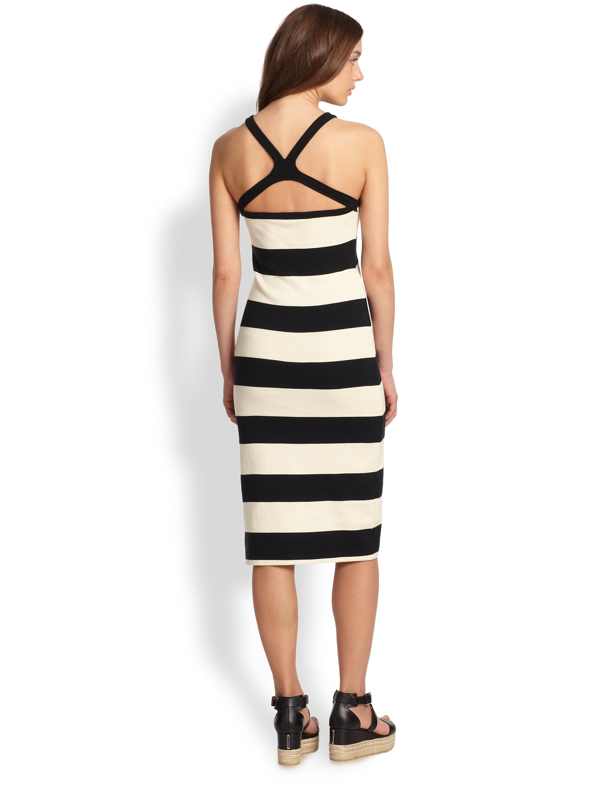 Ralph Lauren Blue Label Striped Crossback Dress In Black