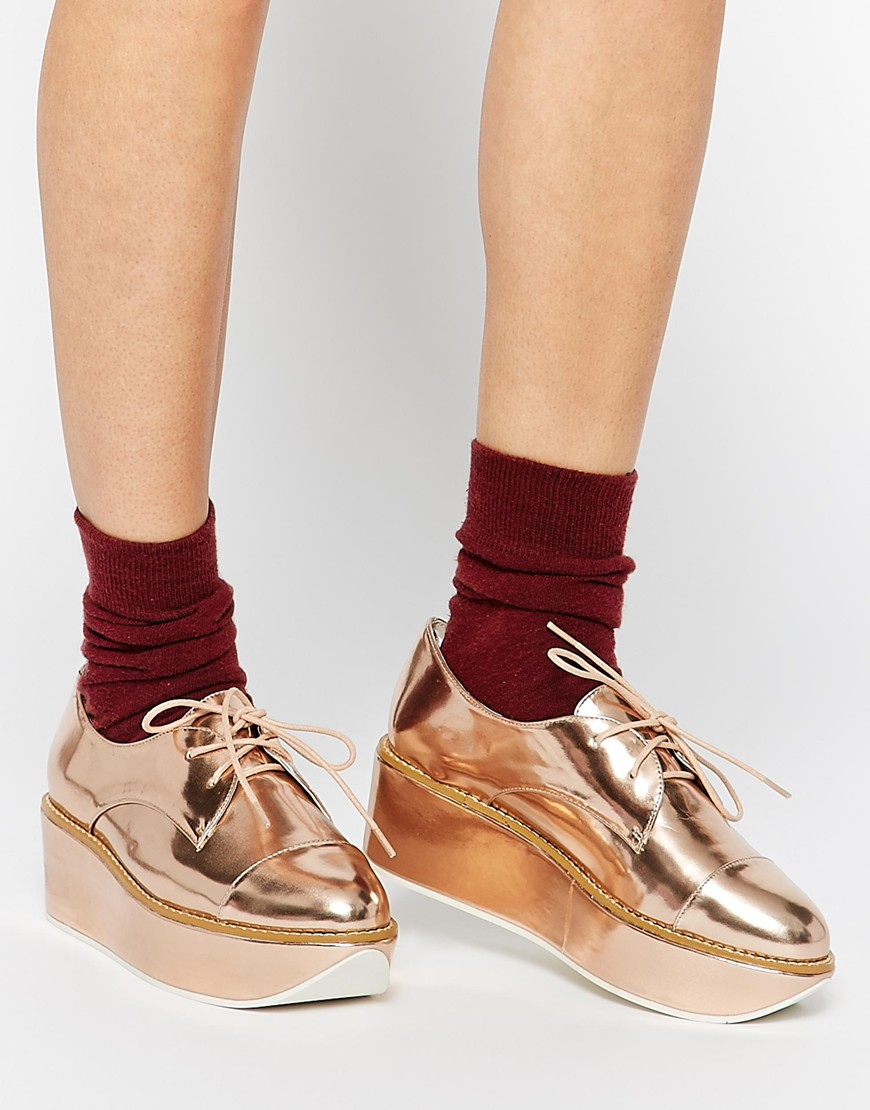 lyst   aldo quirta rose gold flatform shoes in pink