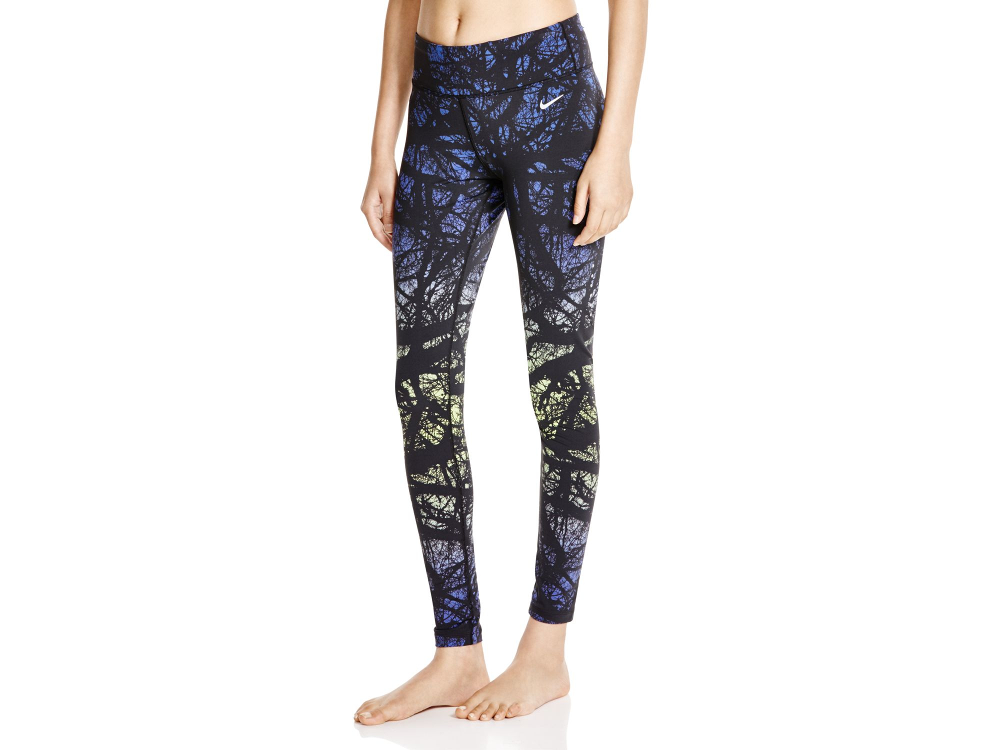 Lyst - Nike Printed Leggings in Blue 82c17a19d