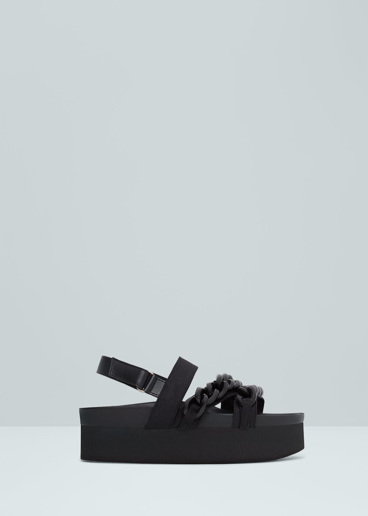 169362a8db Mango Chain Platform Sandals in Black - Lyst