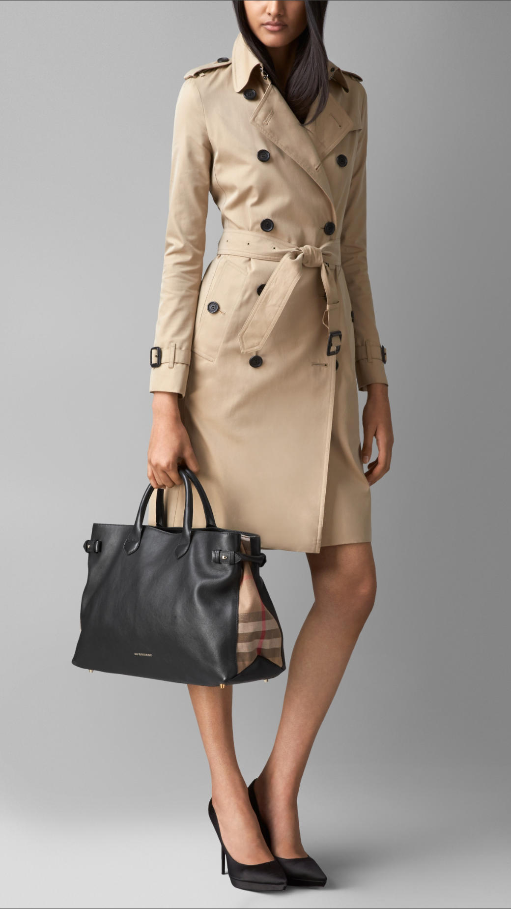 c0eaafef7a Burberry The Large Banner In Leather And House Check in Black - Lyst