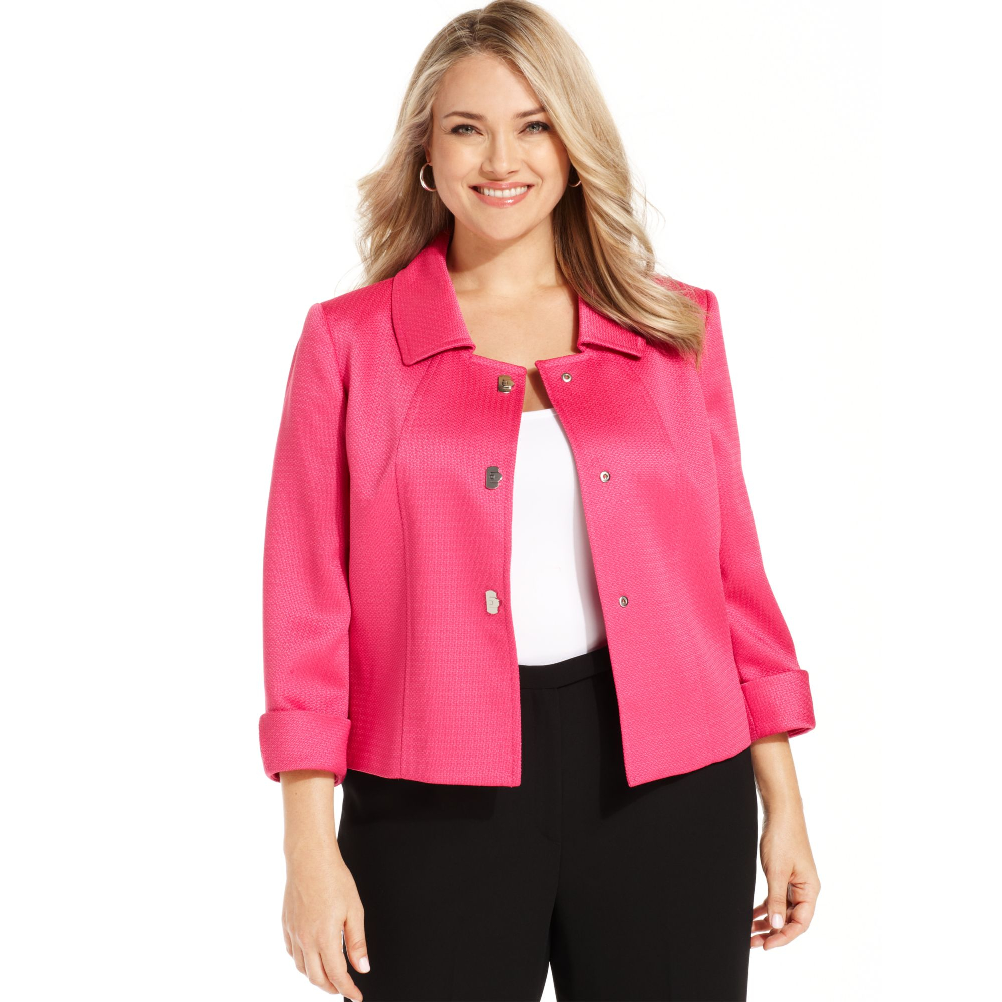 e4341df39ac Lyst - Tahari By Asl Plus Size Textured Turnkey Jacket in Pink