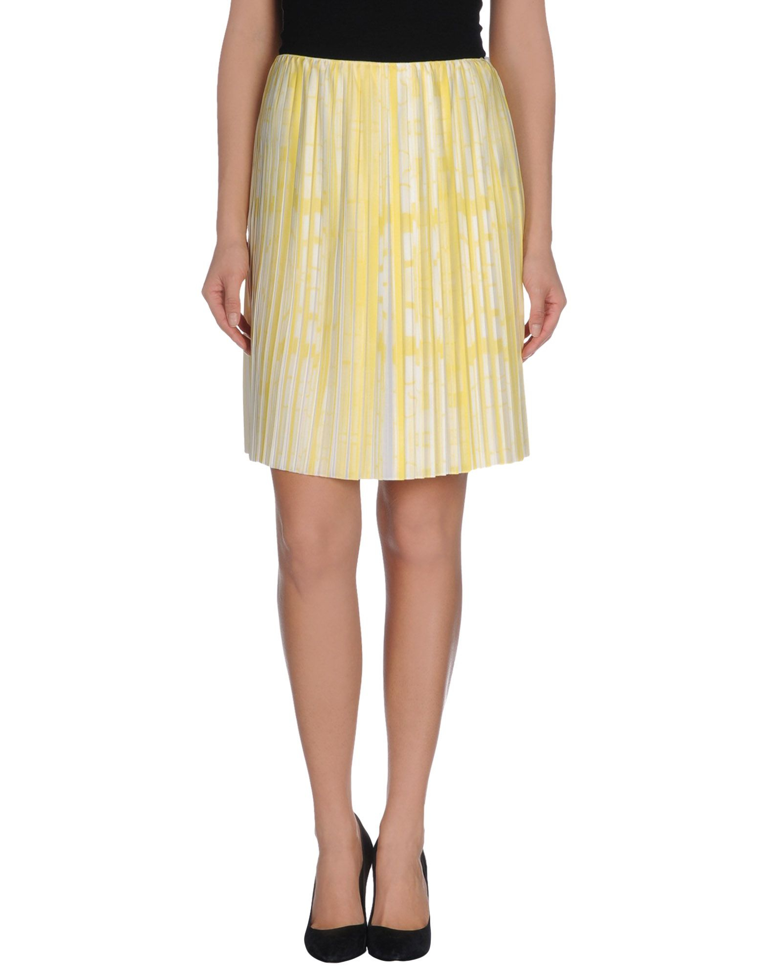 pringle of scotland knee length skirt in yellow lyst