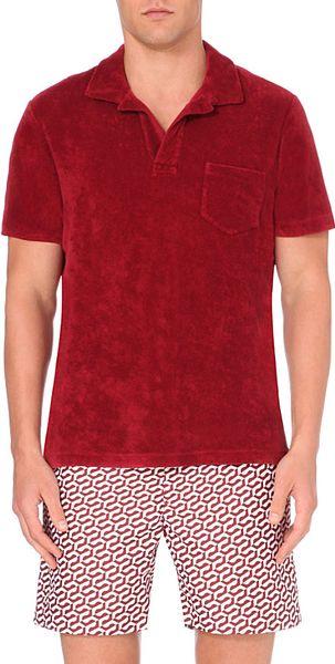Orlebar brown terry cotton polo shirt for men in red for for Terry cloth polo shirt