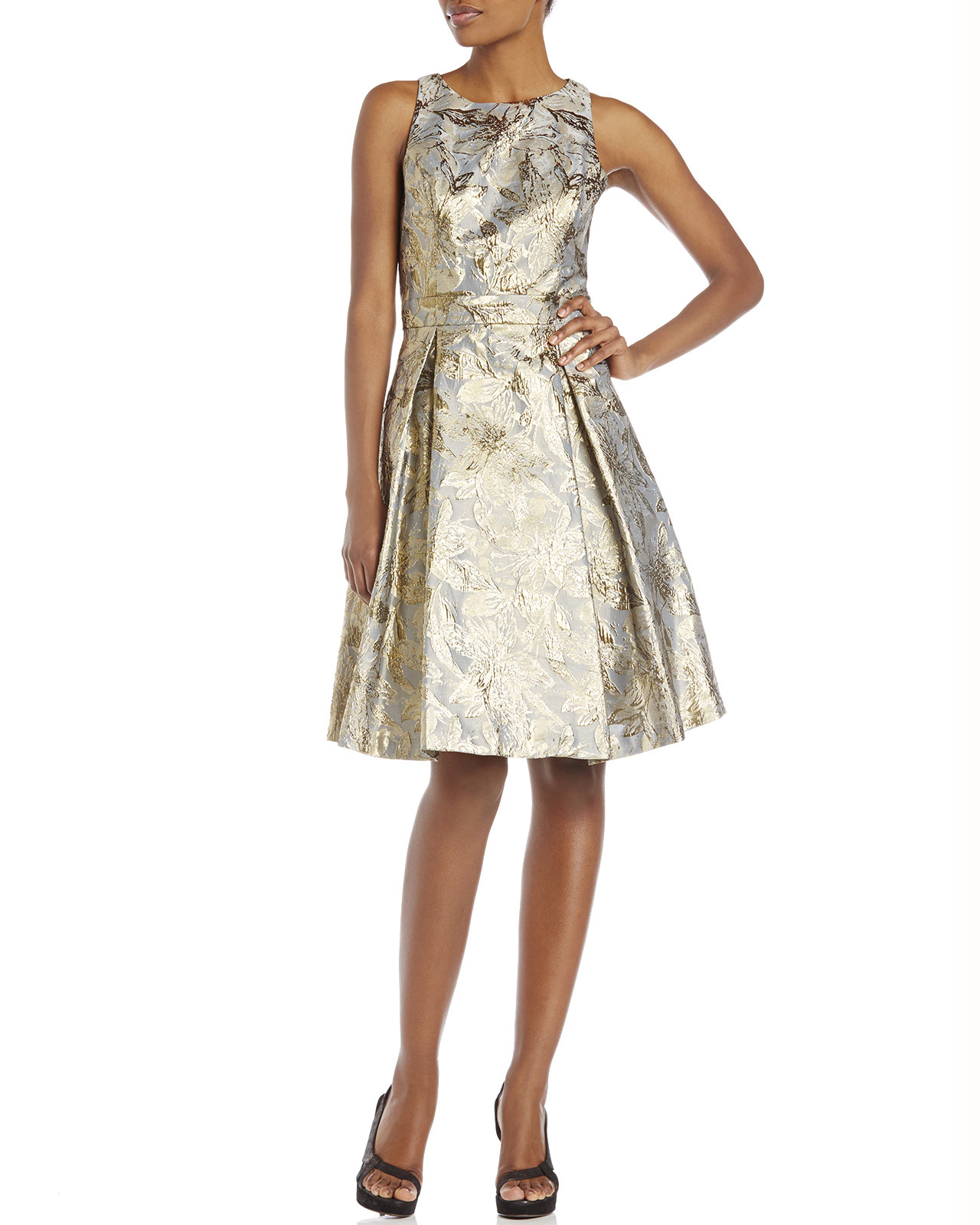 Eliza J Metallic Jacquard Fit Amp Flare Dress In Gray Lyst