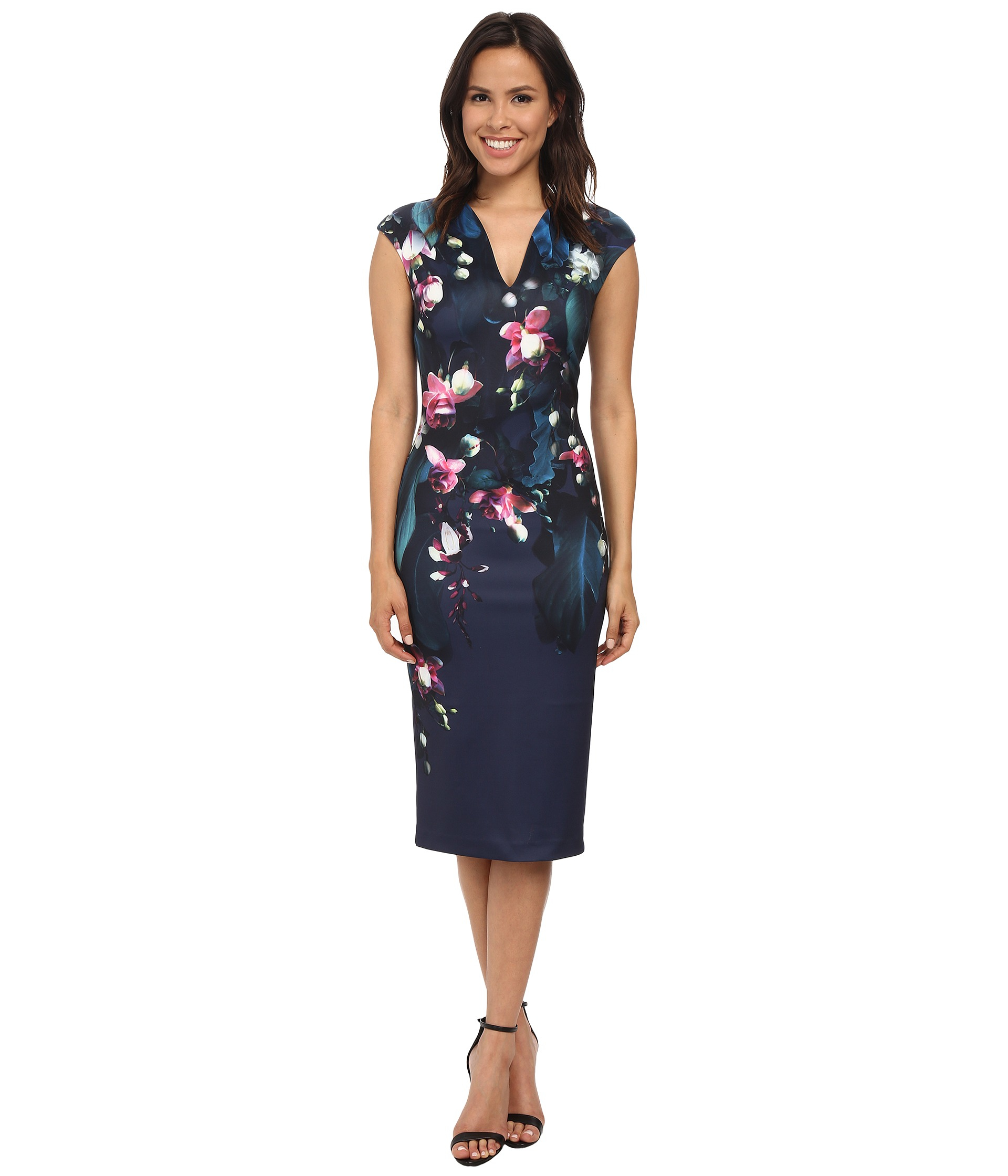 Flower Dress: Ted Baker Antonya Fuchsia Floral Midi Dress In Blue