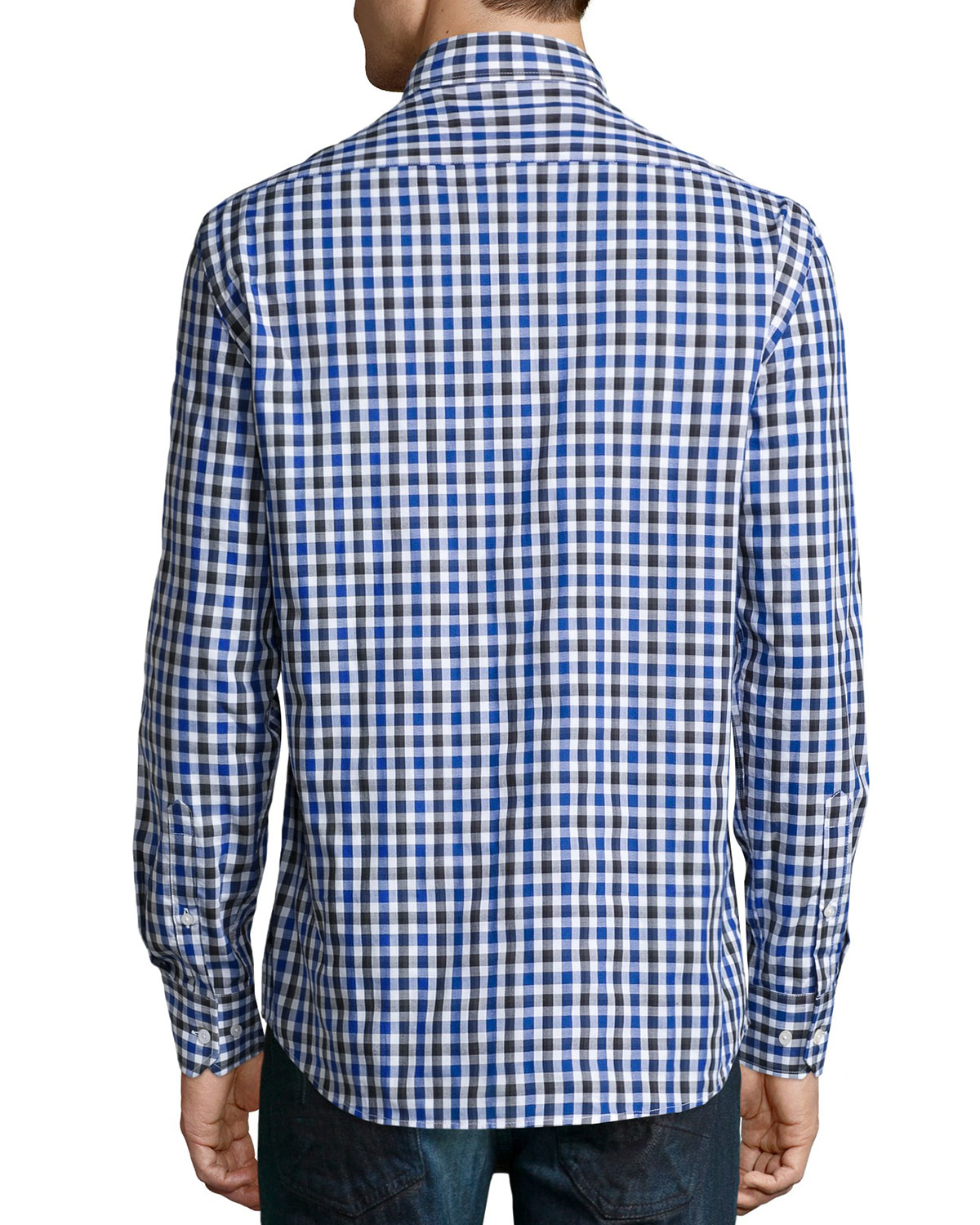 neiman sleeve check sport shirt in blue for