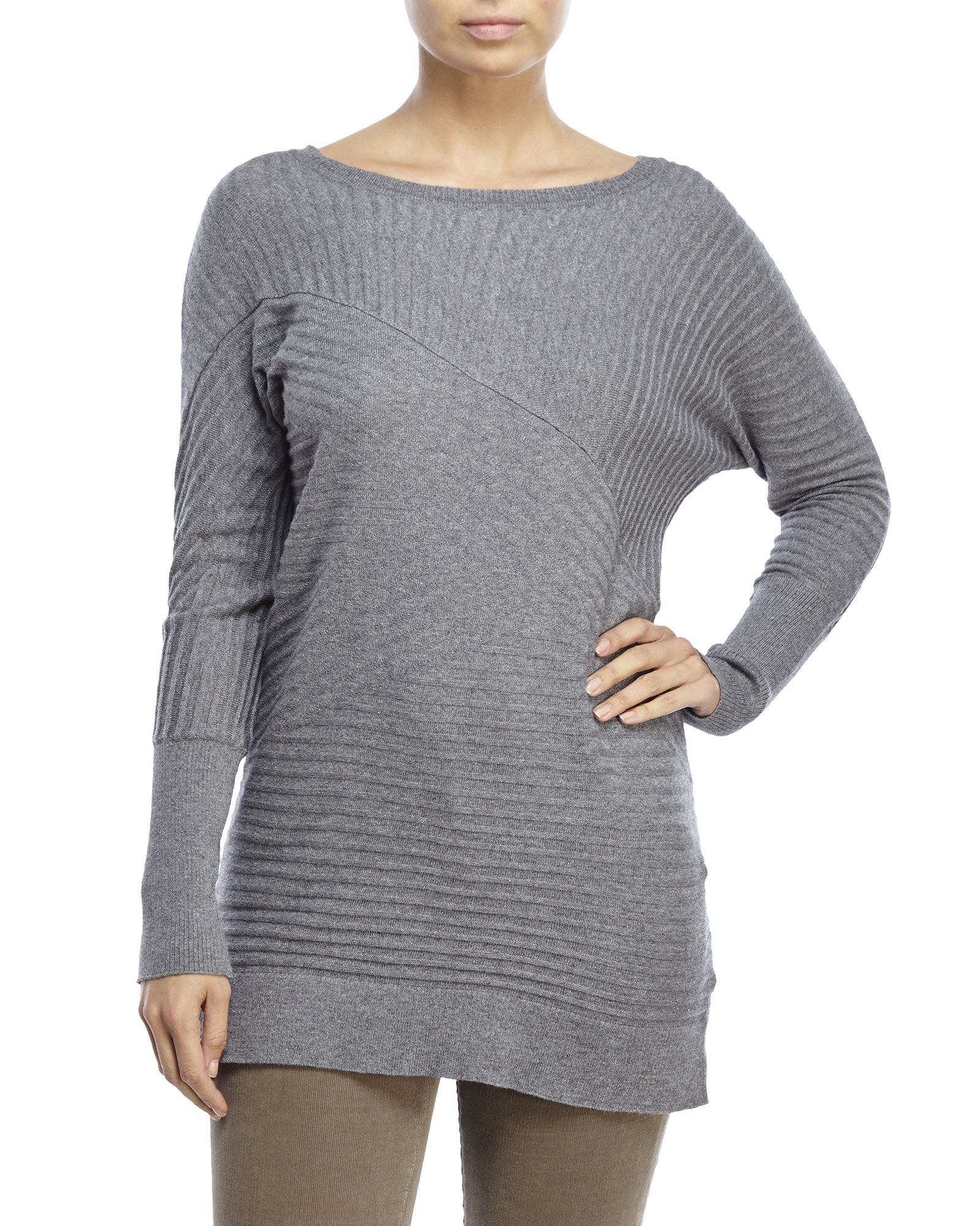 Joseph a Ribbed Knit Tunic Sweater in Gray | Lyst