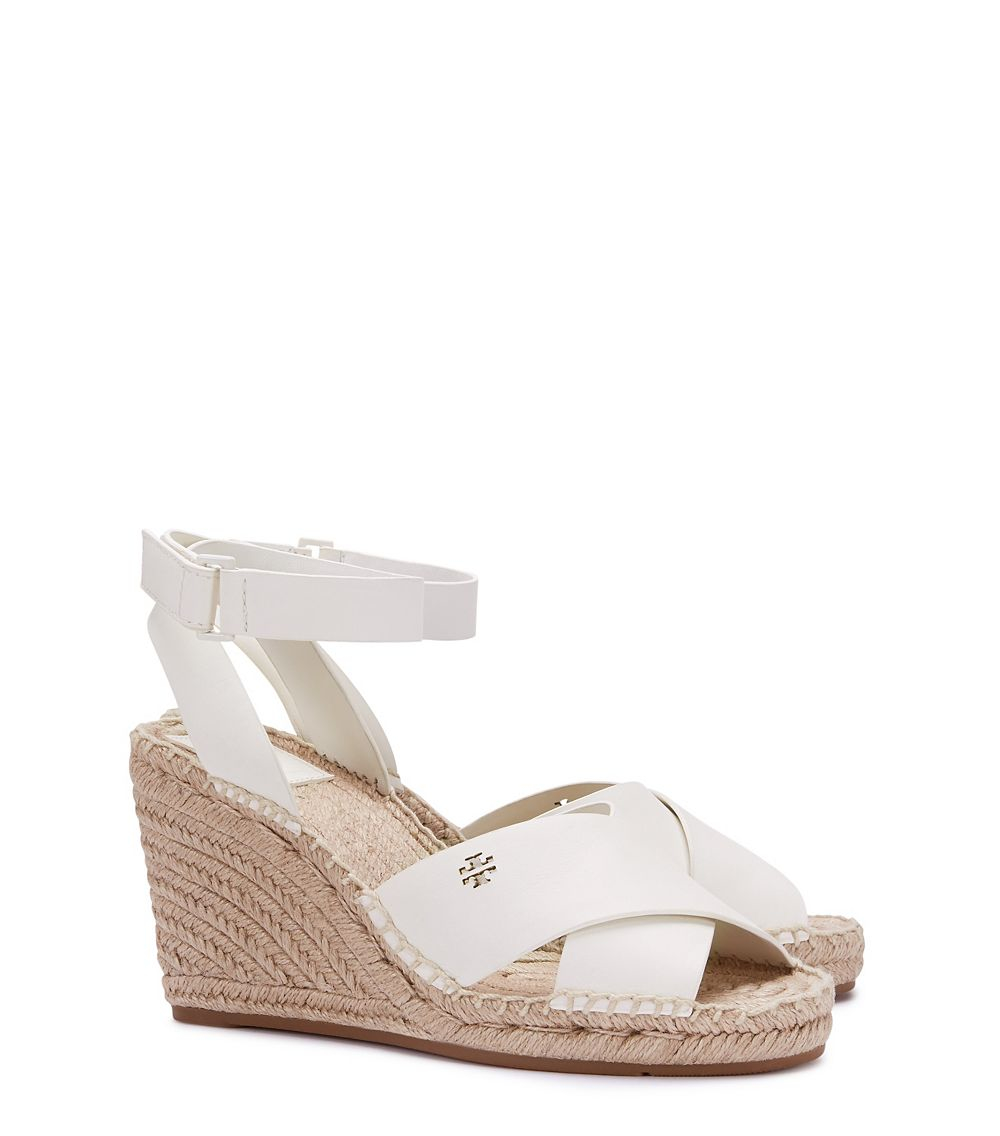 c5a5ed68b Lyst - Tory Burch Bima Wedge Ivory Leather Espadrille in Brown