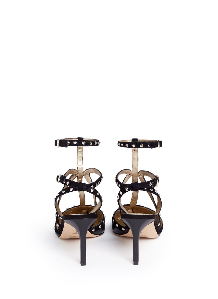 be5c86d80072 Lyst - Sam Edelman  ocie  Stud Suede Caged Leather Pumps in Black