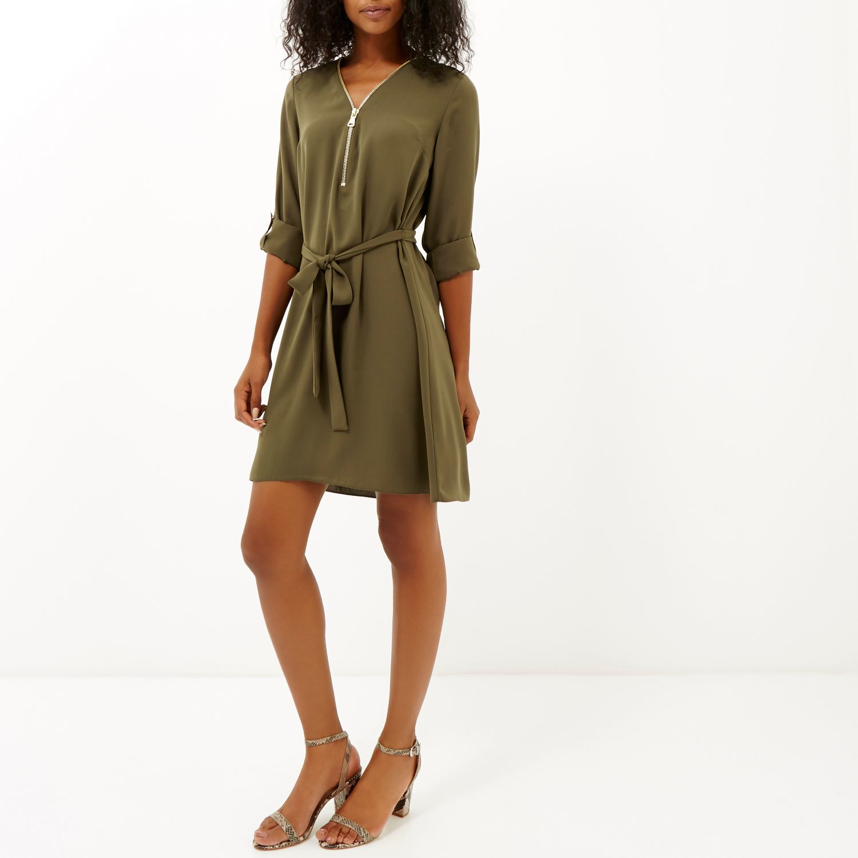 River Island Khaki Zip Shirt Dress In Natural Lyst