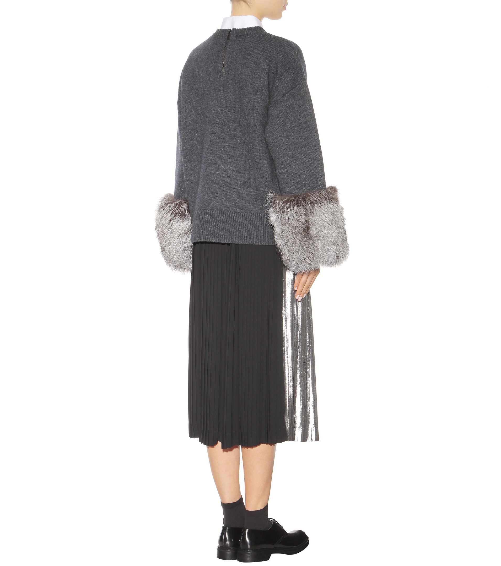 Grey Sweater With Blue Fur Cuff: Michael Kors Sweater With Fur-trim Cuffs In Charcoal