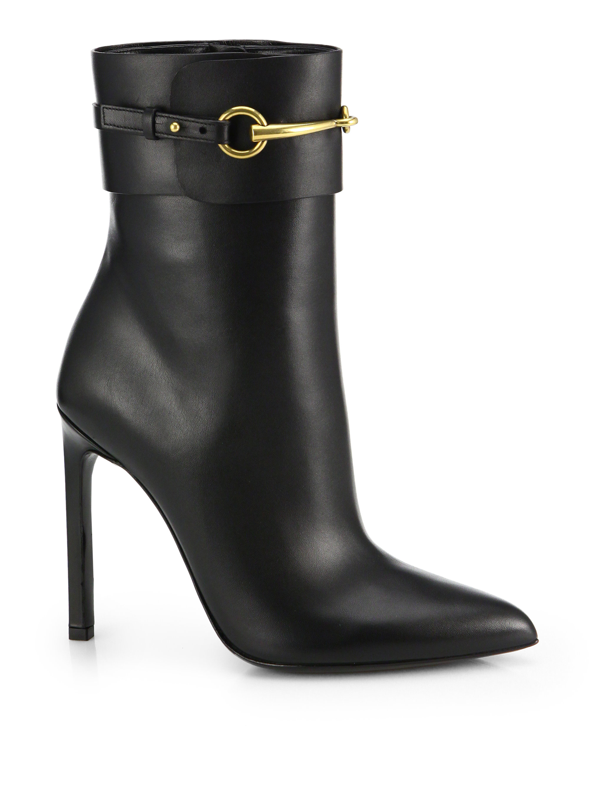 f8e4dd9af11d Lyst - Gucci Ursula Leather Horsebit Ankle Boots in Black