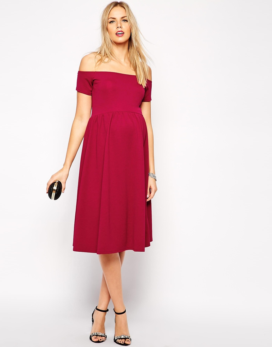 Lyst - ASOS Bardot Midi Skater Dress In Texture in Red 89f3a86e9