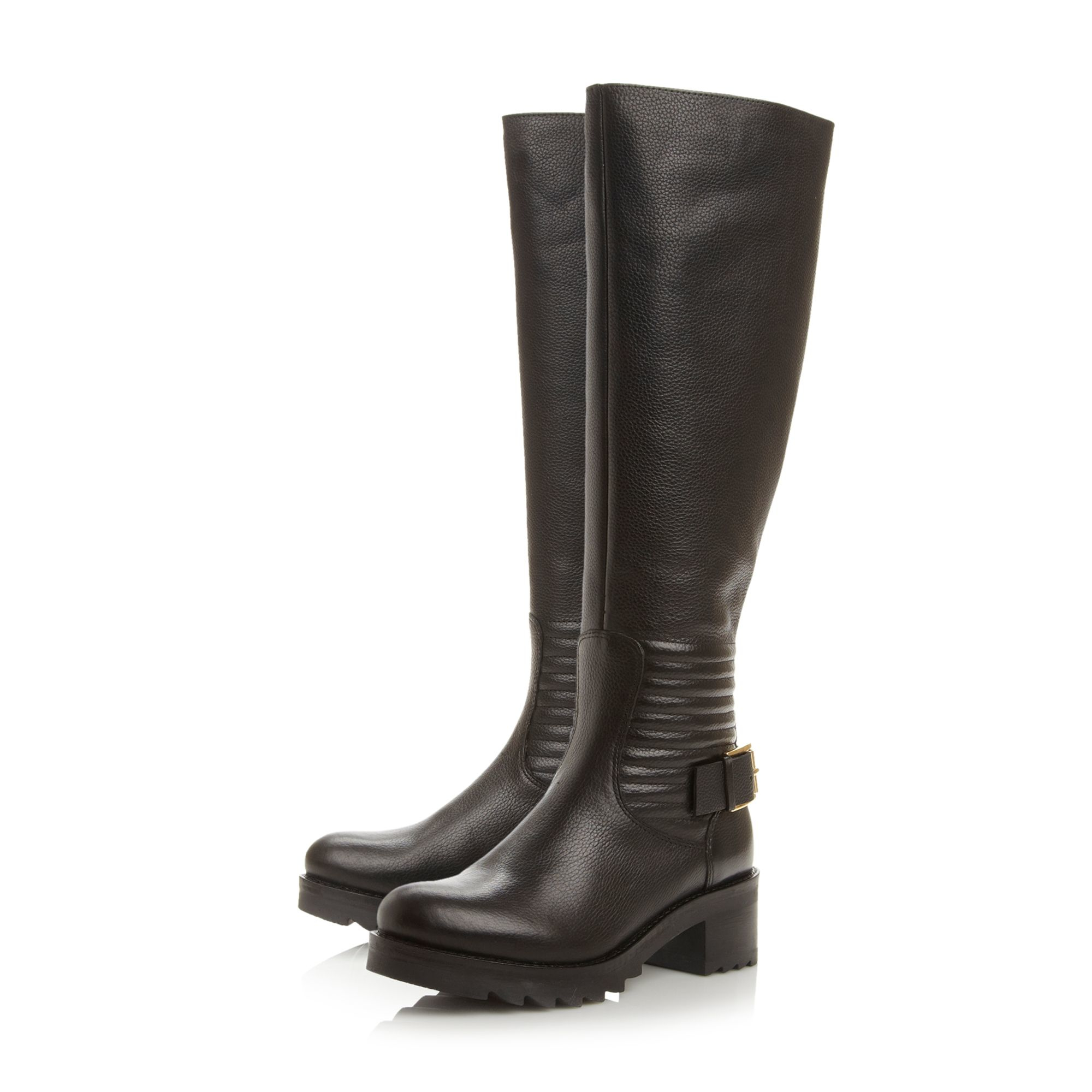 dune vienna quilted back knee high boots in black lyst