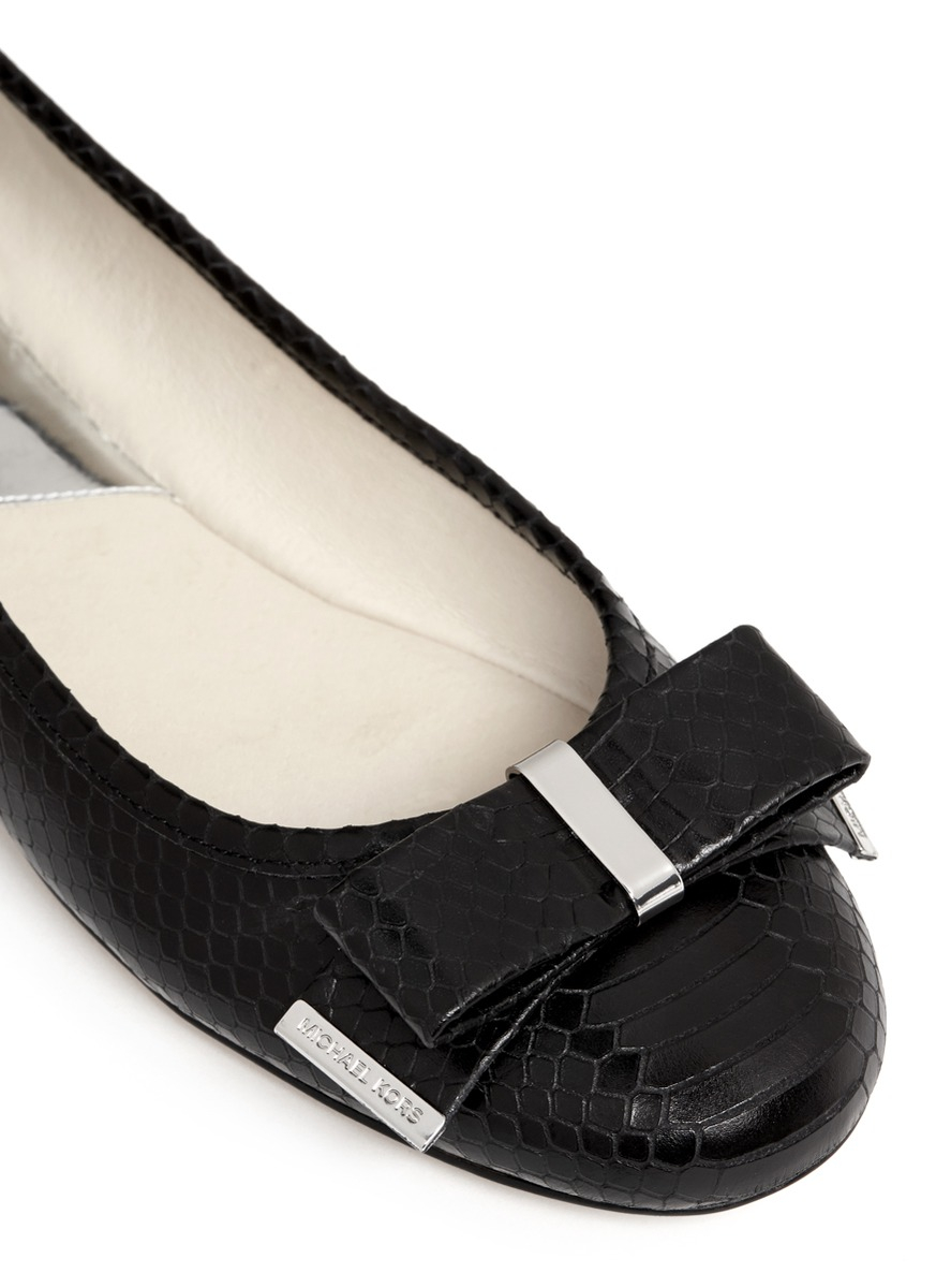 michael kors kiera bow snake embossed leather ballerinas in black lyst. Black Bedroom Furniture Sets. Home Design Ideas