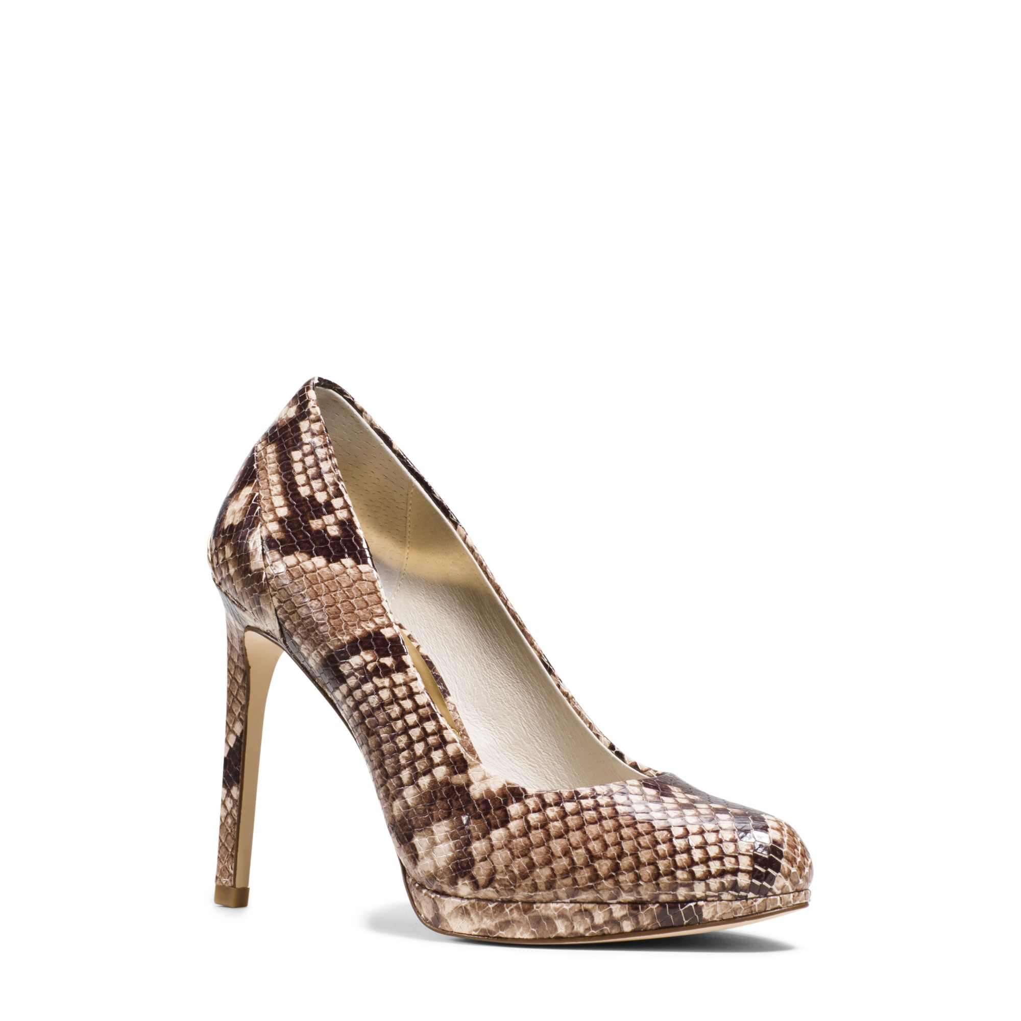a9006b61bf10 Lyst - Michael Kors Yasmin Embossed-leather Pump in Natural