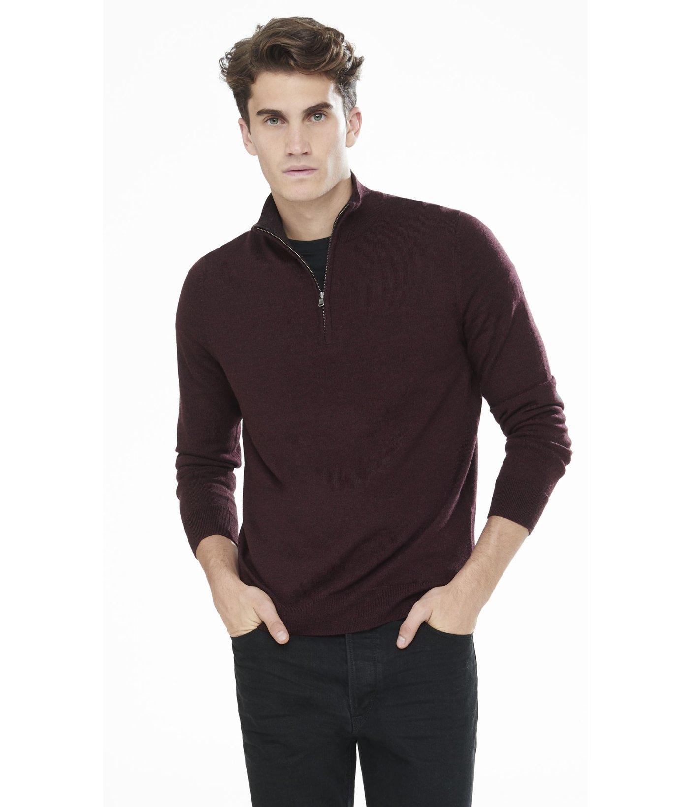 Merino Wool Zip Up Mock Neck Sweater 34