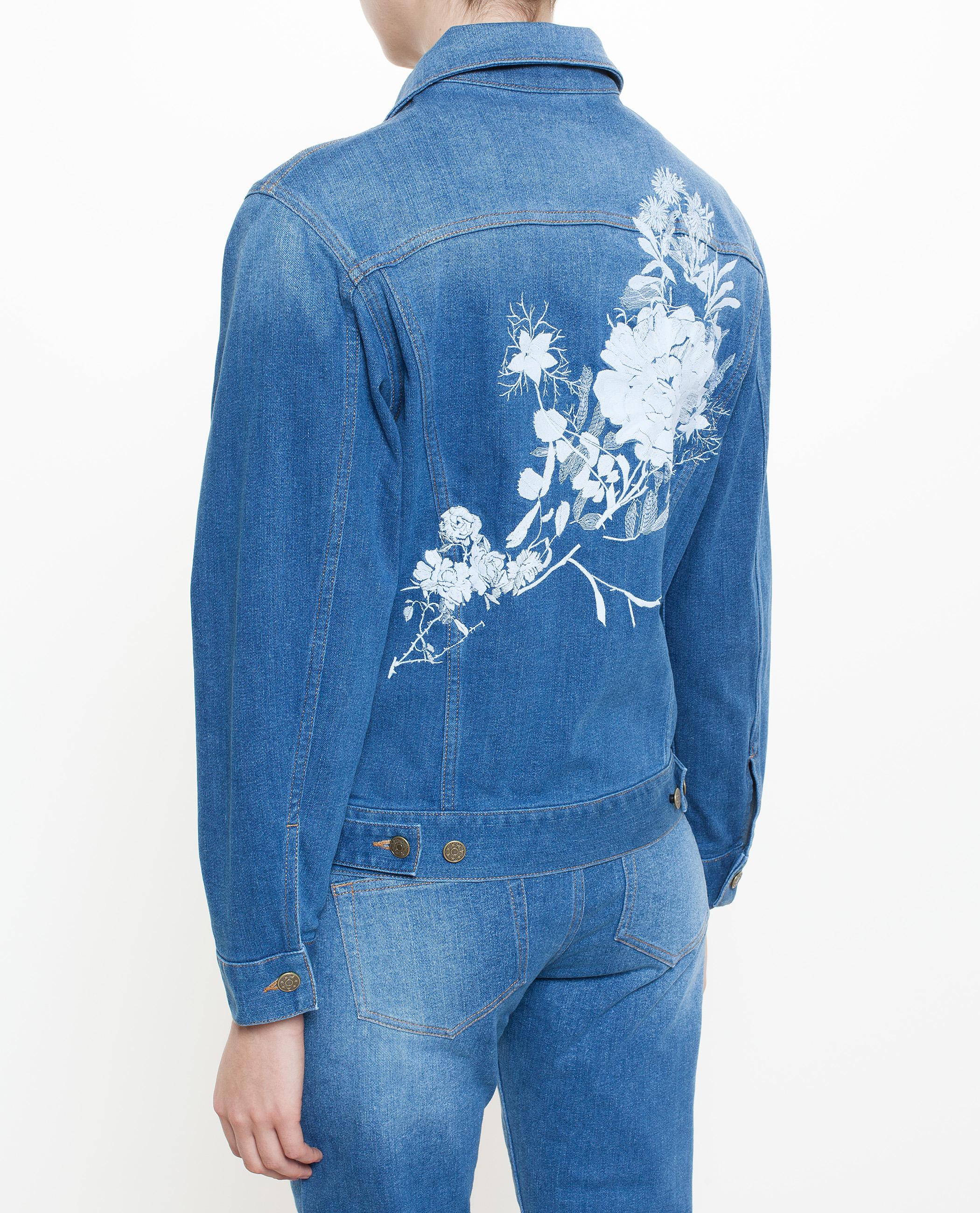Alice archer embroidered denim jacket in blue lyst