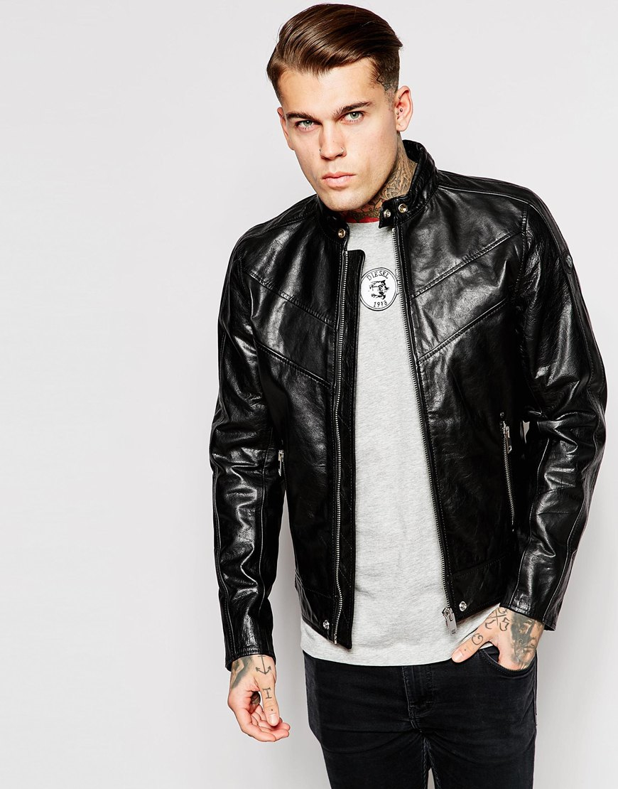 Diesel Leather Jacket L-reed Chevron Biker in Black for Men | Lyst