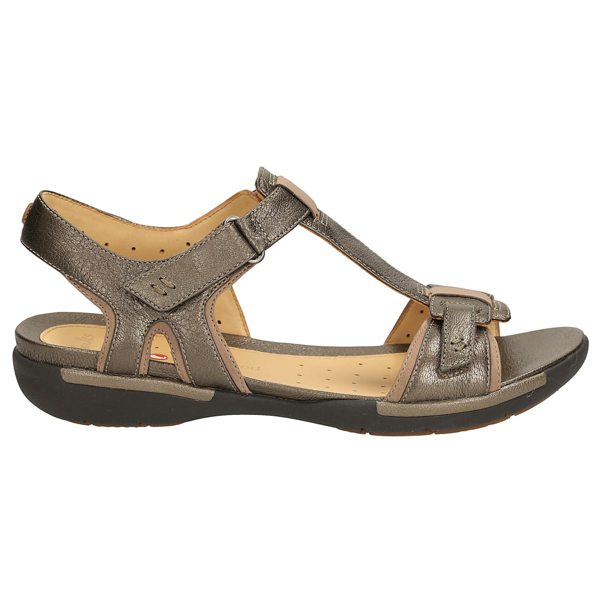 4d1f84950b5af8 Clarks Un Voshell Leather Sandals in Metallic - Lyst