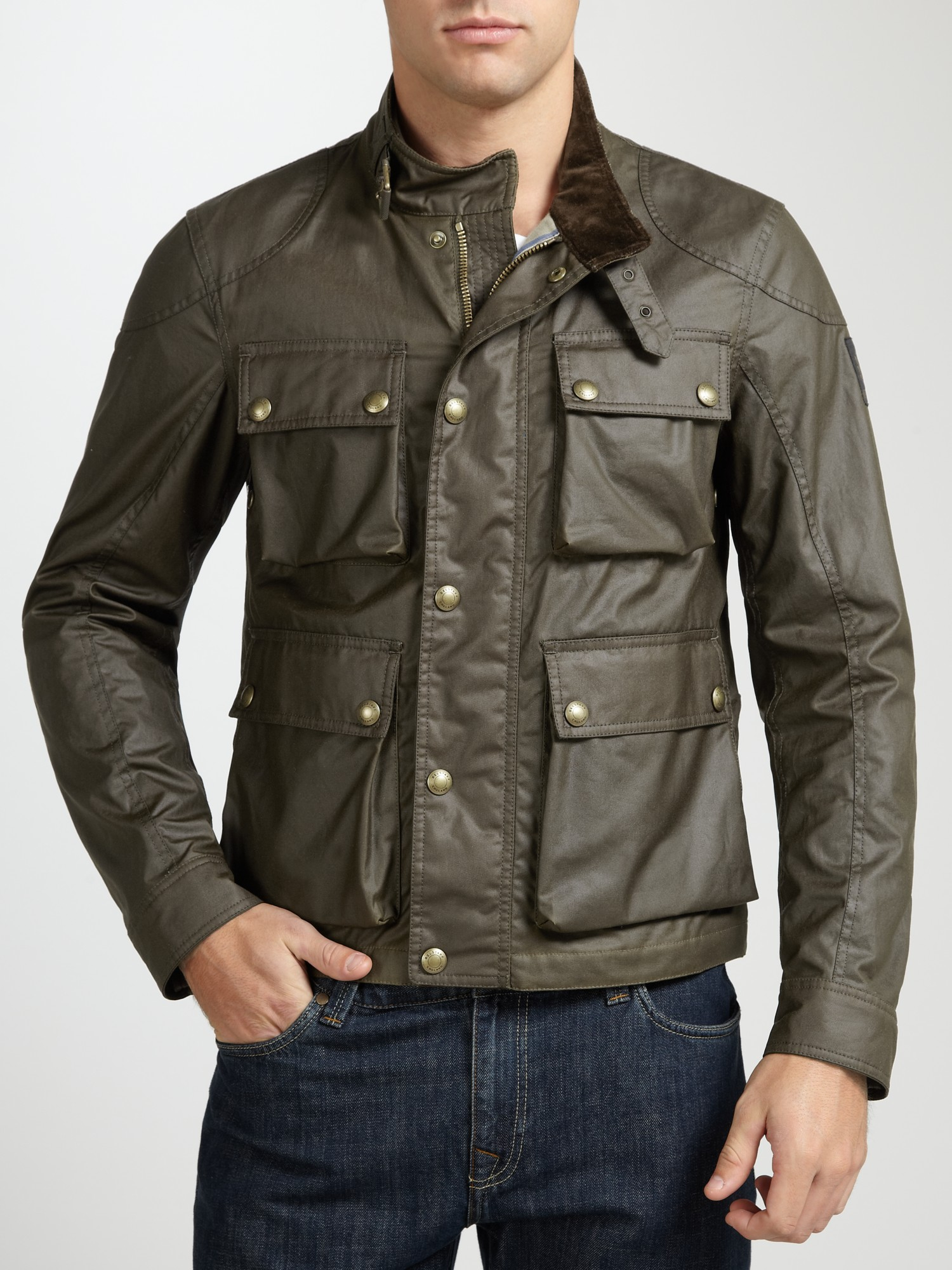 Belstaff Burgess Waxed Cotton Jacket In Faded Green For